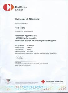 Apply First Aid Certificate